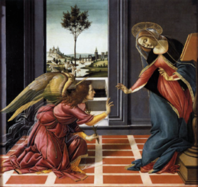 The Annunciation, (1489) by Italian Renaissance master, Botticelli; in the Uffizi Gallery, Florence, Italy.