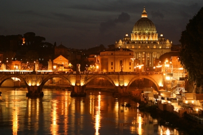 The Tiber River flows and glows through Rome.