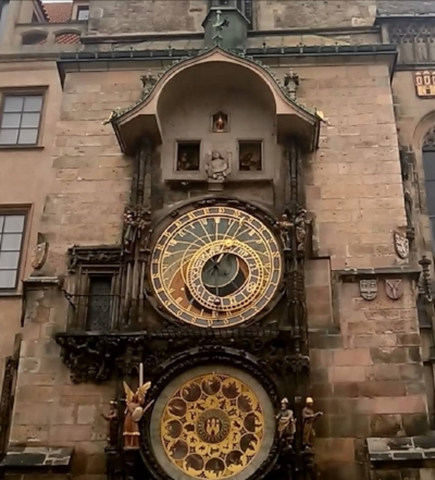 The Astronomical Clock with the Apostles parading past the upper windows.