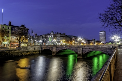 O'Connell Street Bridge over the River Liffey.