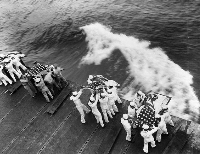 USS Hancock  casualties buried at sea, April 1945.