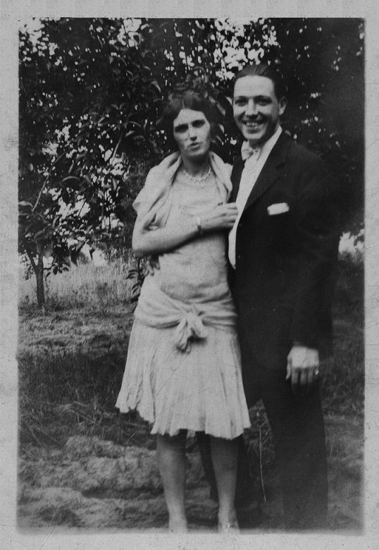 William J. and Anna D. Pawley on their wedding day, April 1920.