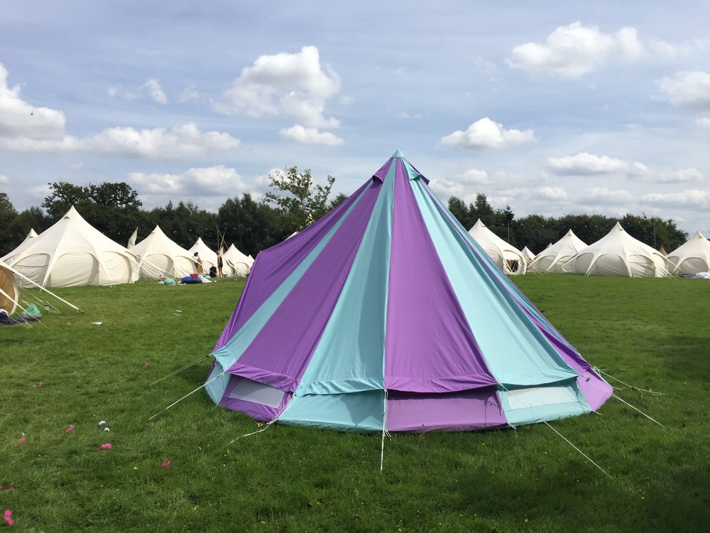 My bell tent from @boutiquecamping pitched in the @woodvilleproject in Boutique