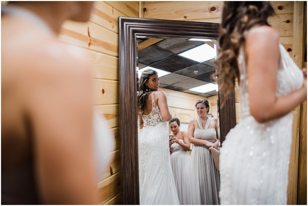 bride getting ready on the wedding day at Rolling Meadows Ranch