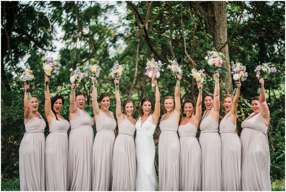 neutral bridesmaids dresses at Rolling Meadows Ranch