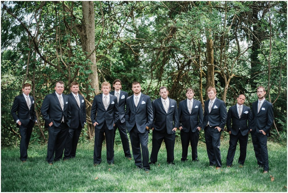 groom and groomsmen at Rolling Meadows Ranch in Cincinnati