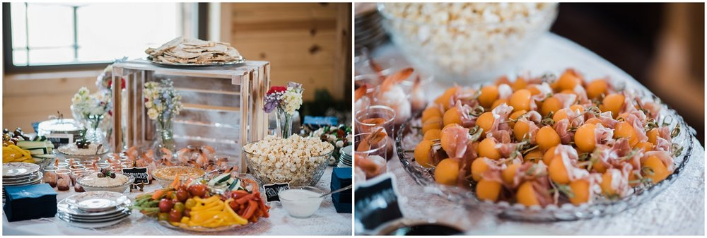 food display, Rolling Meadows Ranch wedding