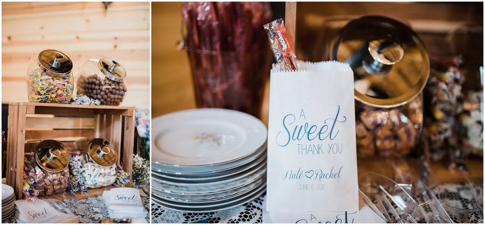 dessert station/candy table at Rolling Meadows Ranch wedding