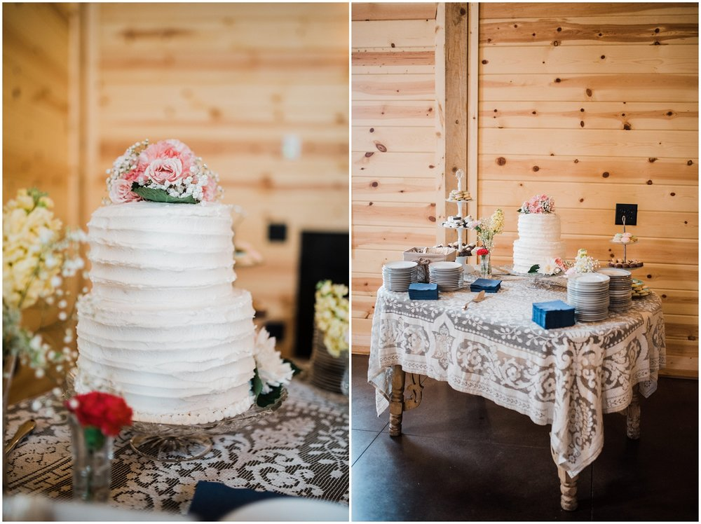 wedding cake/dessert table at Rolling Meadows Ranch