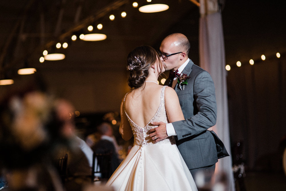 First dance at Americas Packard Museum wedding reception