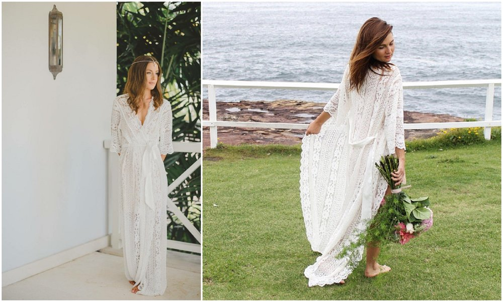 I am absolutely obsessed with lace robes for brides. This floor length robe can be elegant or boho.