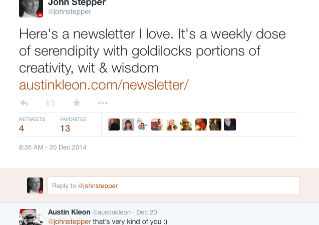 Austin Kleon tweet