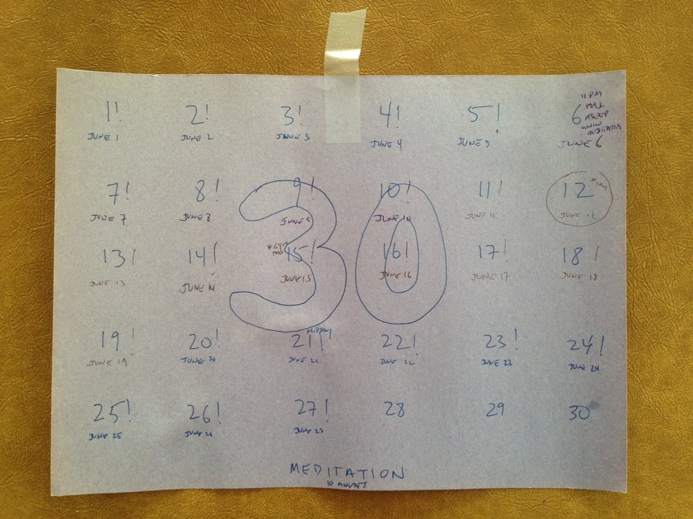 "The progress chart I kept for my meditation ""challenge"""