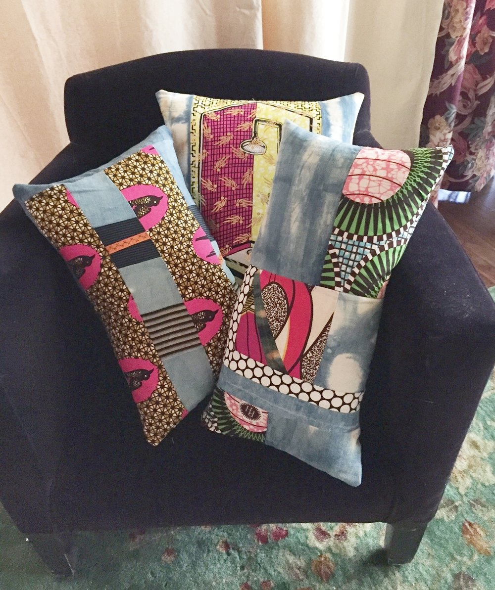 Some of Karen's indigo-dyed cotton and African wax print fabric pillows.
