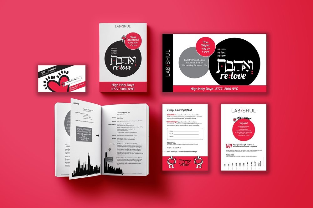 Designed a series of printed and digital materials for 2016 Lab/Shul's High Holy Days. Visual Identity created by an Israeli artist.