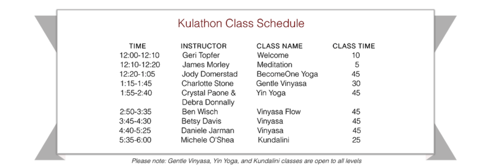 Kula for Karma - Kulathon Schedule