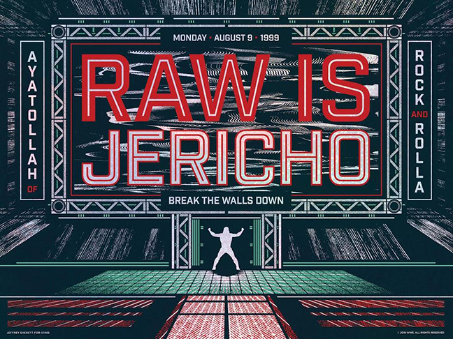 The Man of 1,004 Moves, The Ayatollah of Rock and Rolla is captured in all of his Monday Night Raw Debut glory with this official WWE x Gallery 1988 print celebrating the 25th RAW anniversary. The poster is printed on swanky holographic paper with three colors! We think this poster.... JUST MADE THE LIST!  Pick one up now! Get one from  Gallery 1988  pronto!