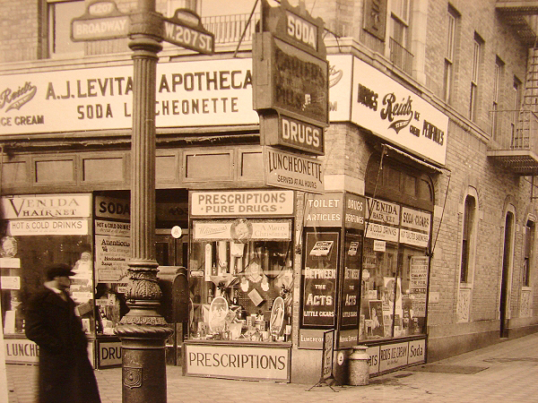Levitan Pharmacy circa 1928 corner 207th and Broadway
