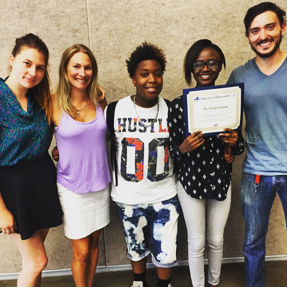Ketsia and Jaston successfully completed the SYEP program, and celebrate with Lauren, Lindsay & Tom