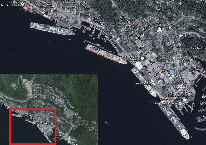 Here's Ketchikan, Alaska from space, zoomed in on the main retail street.