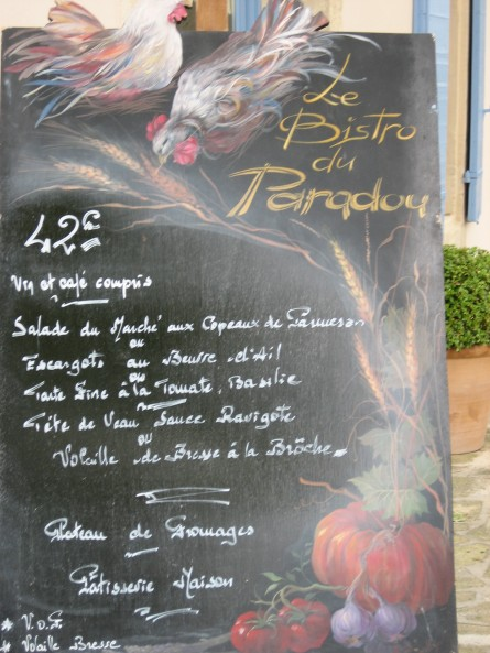 Menu Board Outside Le Bistro du Paradou