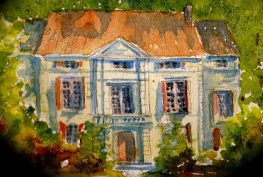 Chateau de Roussan Watercolor by James Clay