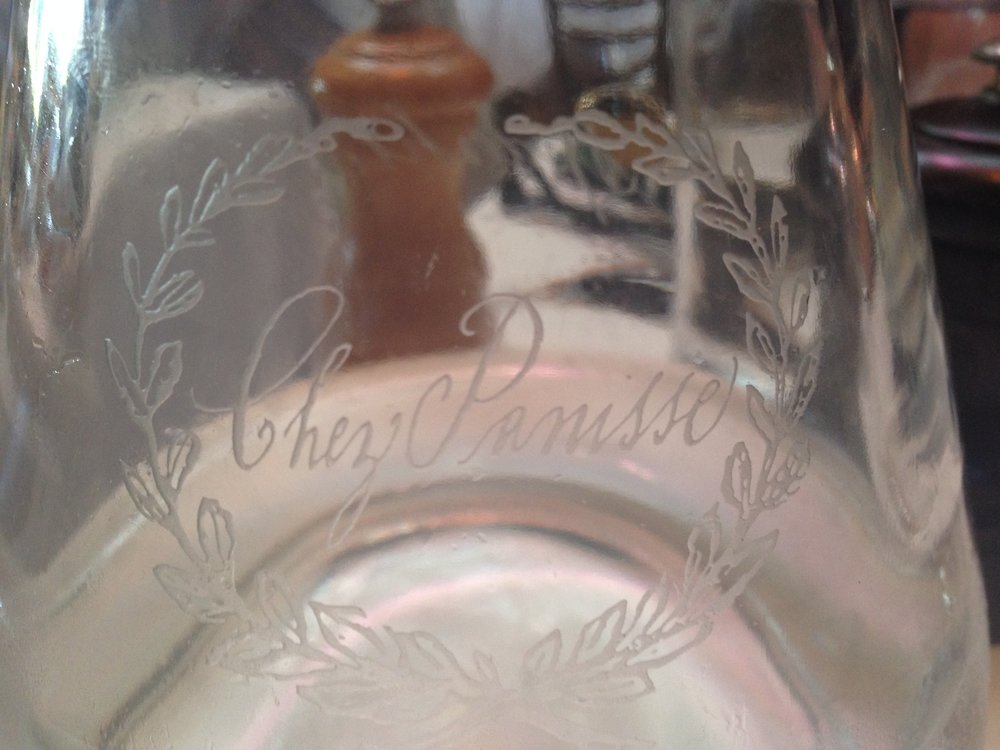 "Cafe Water Carafe Etched ""Chez Panisse"""