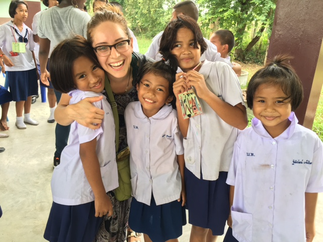 Carlie with at-risk children, Thailand 2017