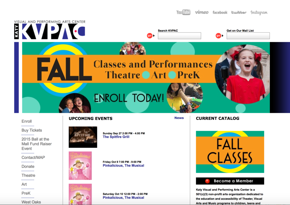 Katy Visual & Performing Arts Center web