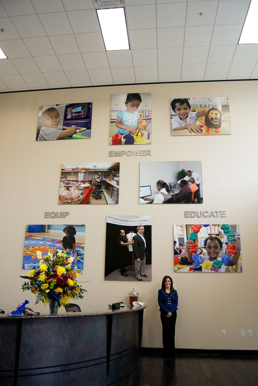 Gulf Coast Community Services Assoc.photography & mural installation in lobby at headquarters