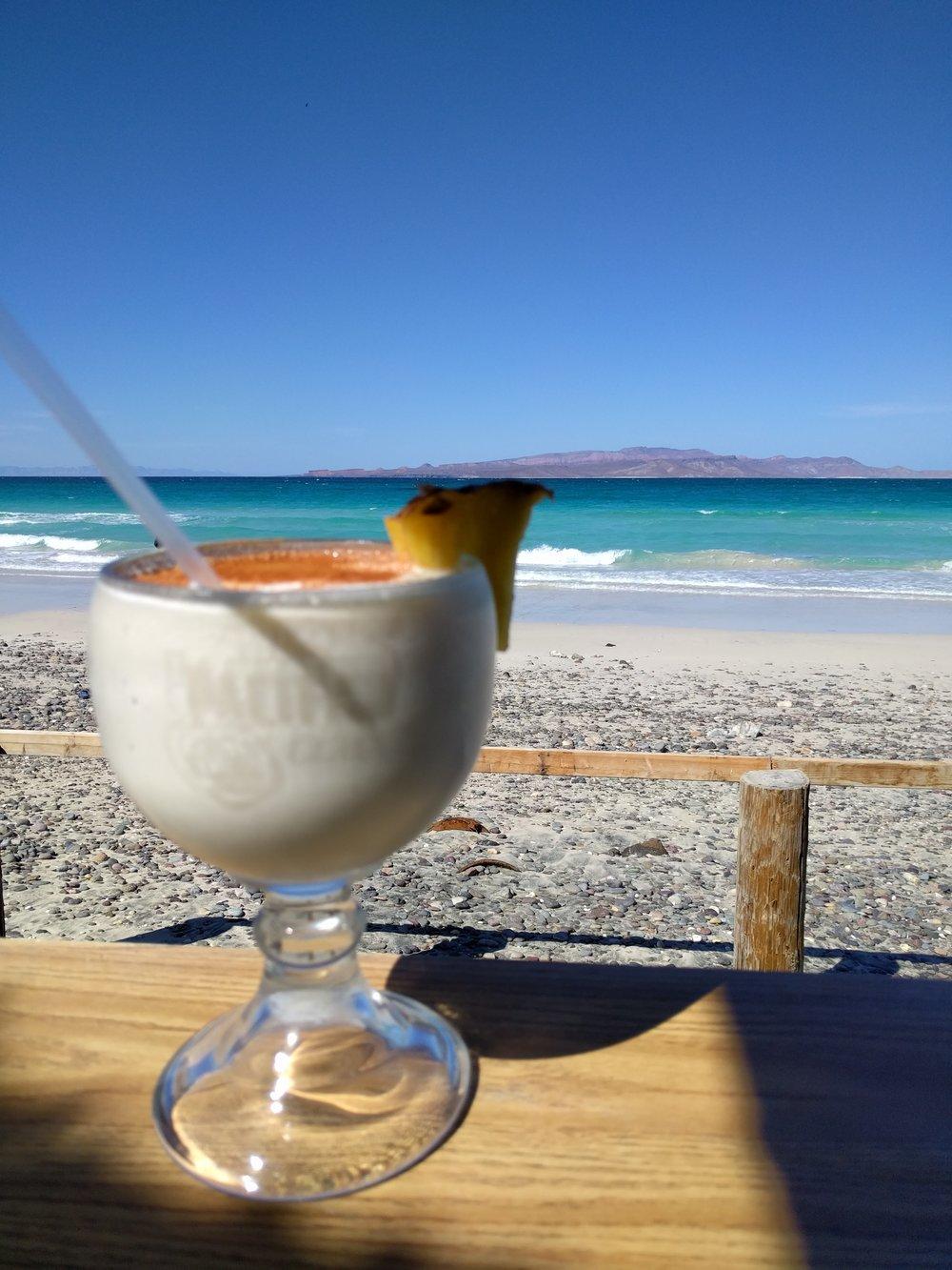 Coconut Pina Colada, Tecolote Beach, Baja, Mexico