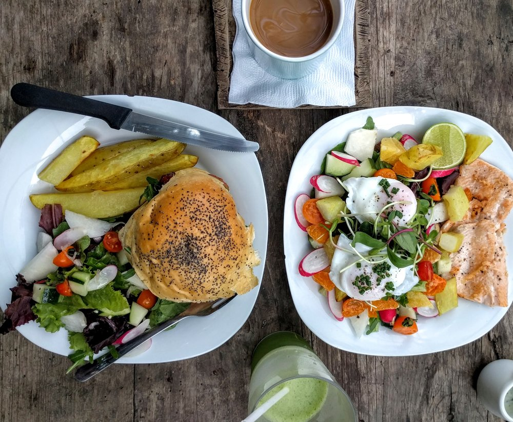 Salmon Burger and Trout Salad - Caoba Farms - Antigua, Guatemala