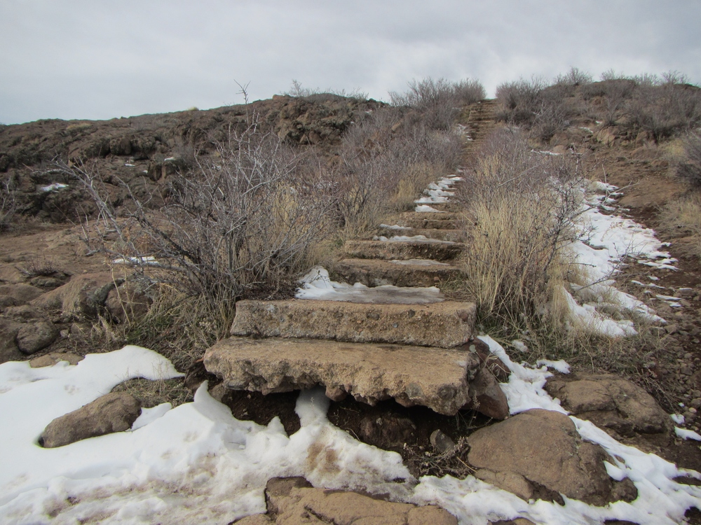 The stairs leading to the top of Castle Rock