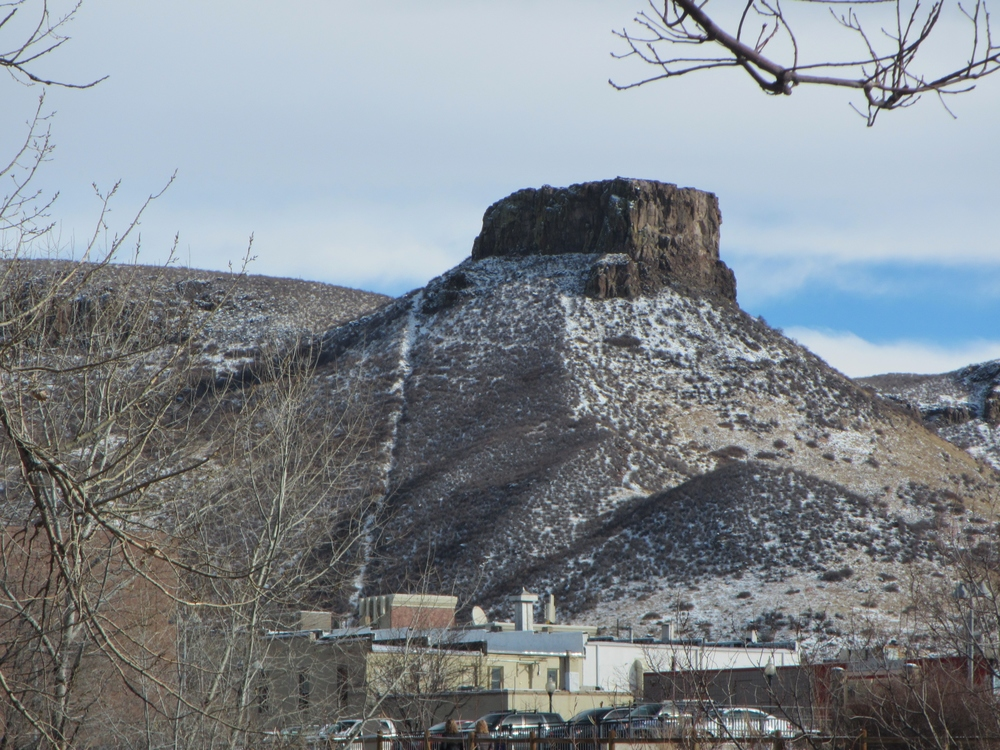 View of Castle Rock and the funicular scar
