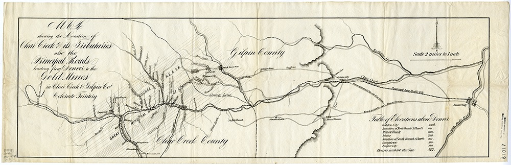 Scan #30001402, History Colorado (subsequent use requires written permission from History Colorado). This map shows the Apex Toll Road merging with the Mt. Vernon Toll Road at Genesee.