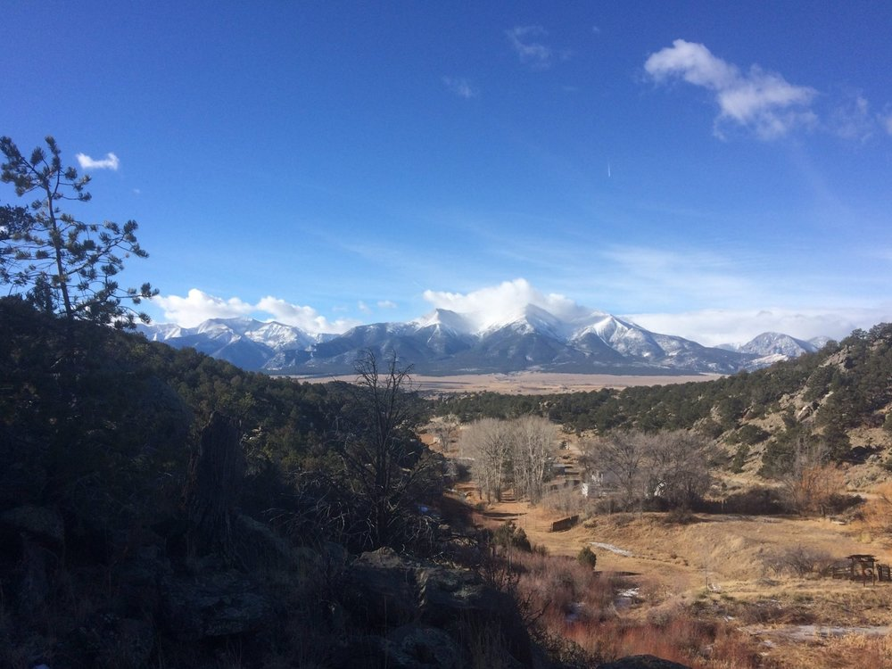The views of the Collegiate Peaks are awesome from the cliff. Mt Princeton in the center is absolutely stunning.