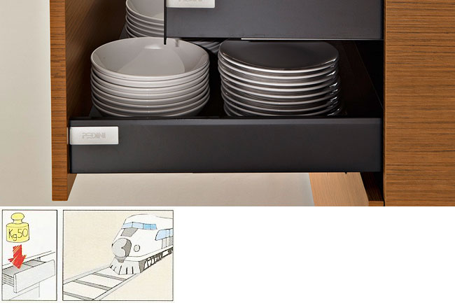 drawers with steel rail sides