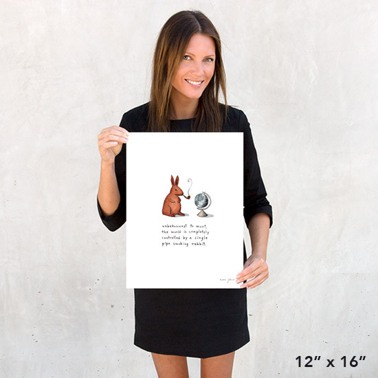 pipe smoking rabbit 12x16 print marc johns