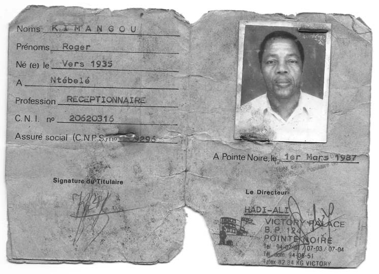 Alain's father Papa Roger's identity card.