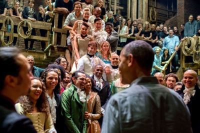 The Hamilton cast and crew greets President Barack Obama, 2015. (Source: Wikipedia)