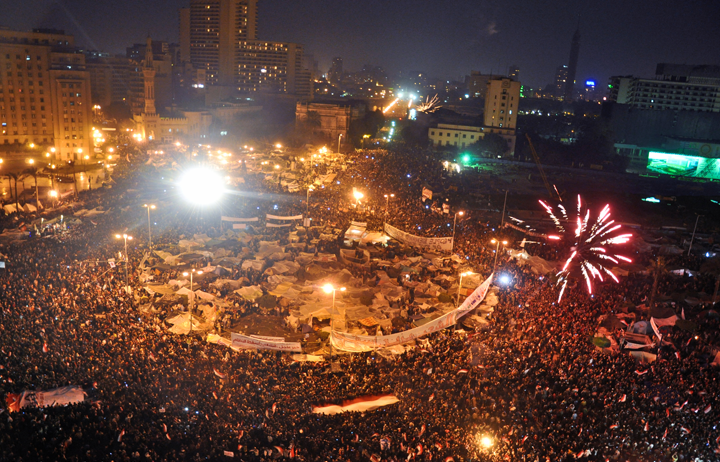 Celebrations in Tahrir Square after Omar Suleiman's statement concerning Hosni Mubarak's resignation. Photo: Jonathan Rashad via Flickr