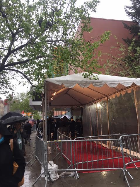 A rainy night outside the Tribeca Film Festival