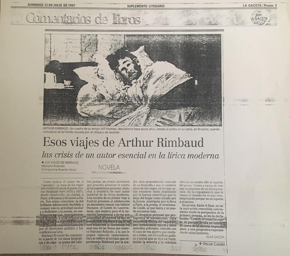 "Cutout from Argentine newspaper ""La Gaceta"" showing a review of Mariano Rolando Andrade's first book: ""The Travels of Arthur Rimbaud,"" written early in his career"