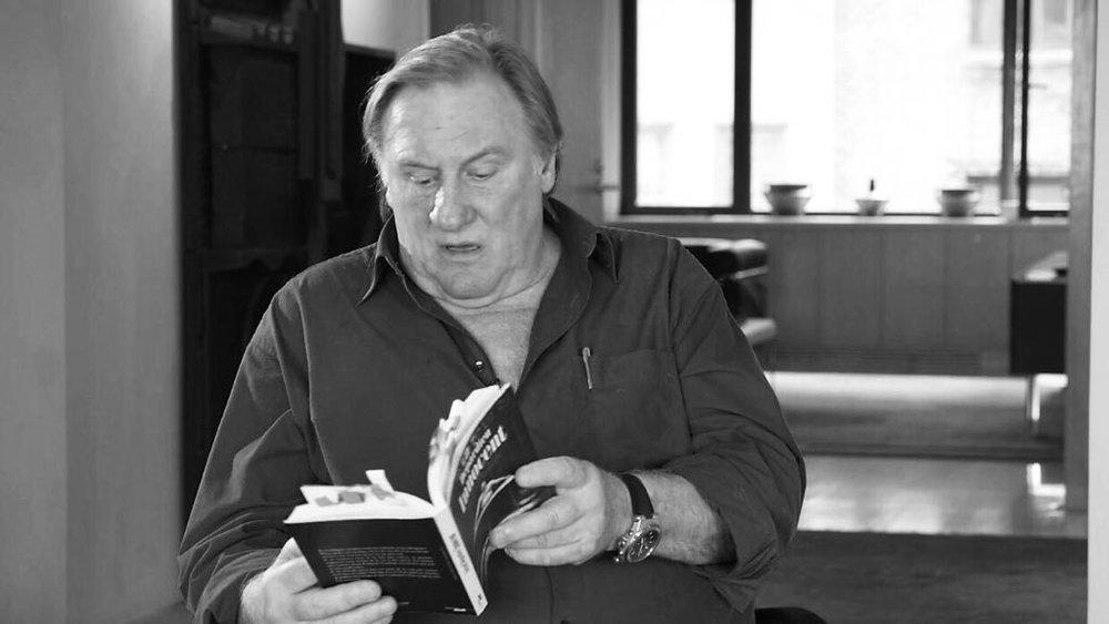 Depardieu reading an excerpt from his memoir-essay Innocentduring his conversation with LSP in New York in September, 2017