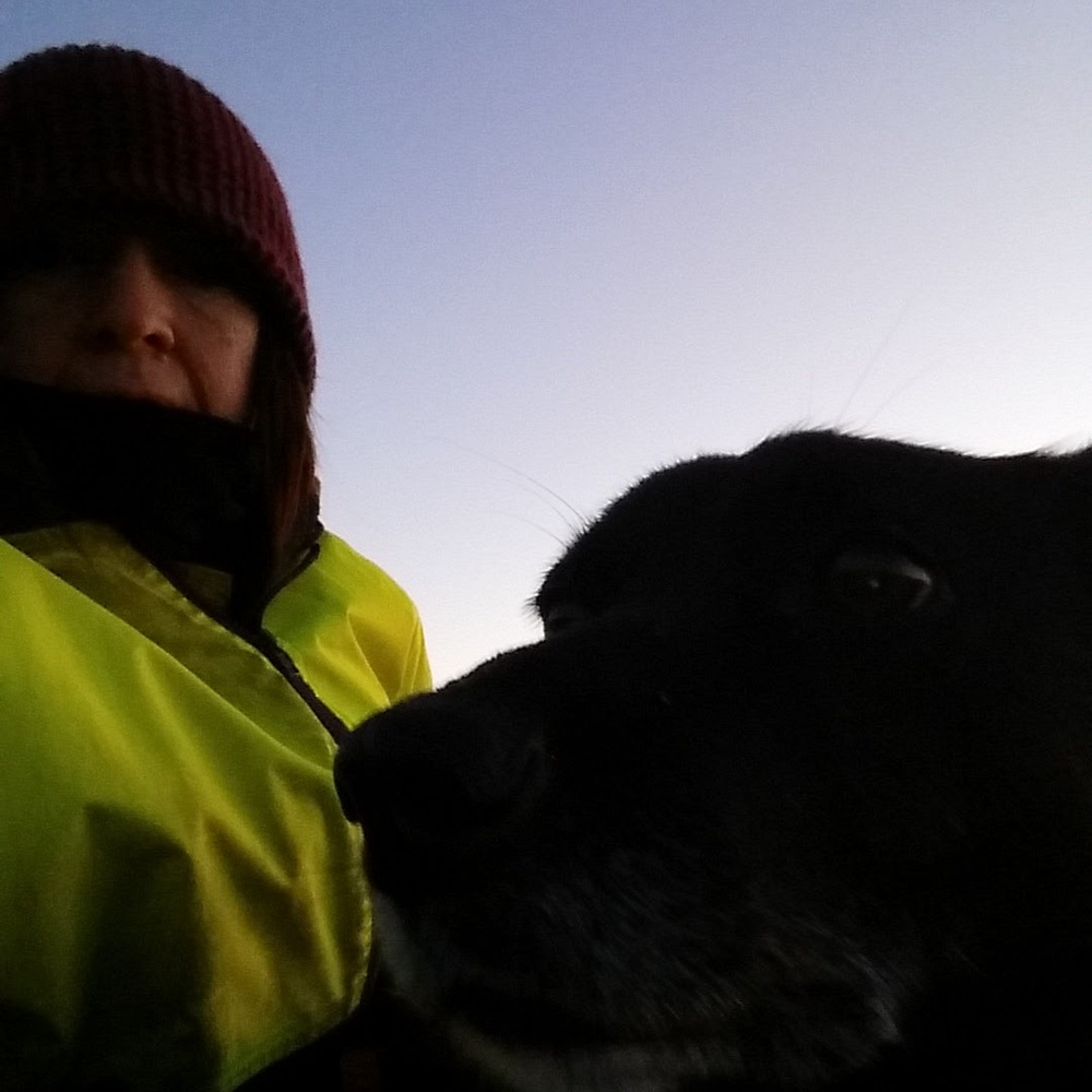 Only 1 deg C this morning, extremely icy and frost everywhere! Sky clear so we took our selfie today ! As you can see not a fashion statement in any respect with warmth being the main idea - beanie, scarf, gloves, 2 pairs of socks and a big old jacket.