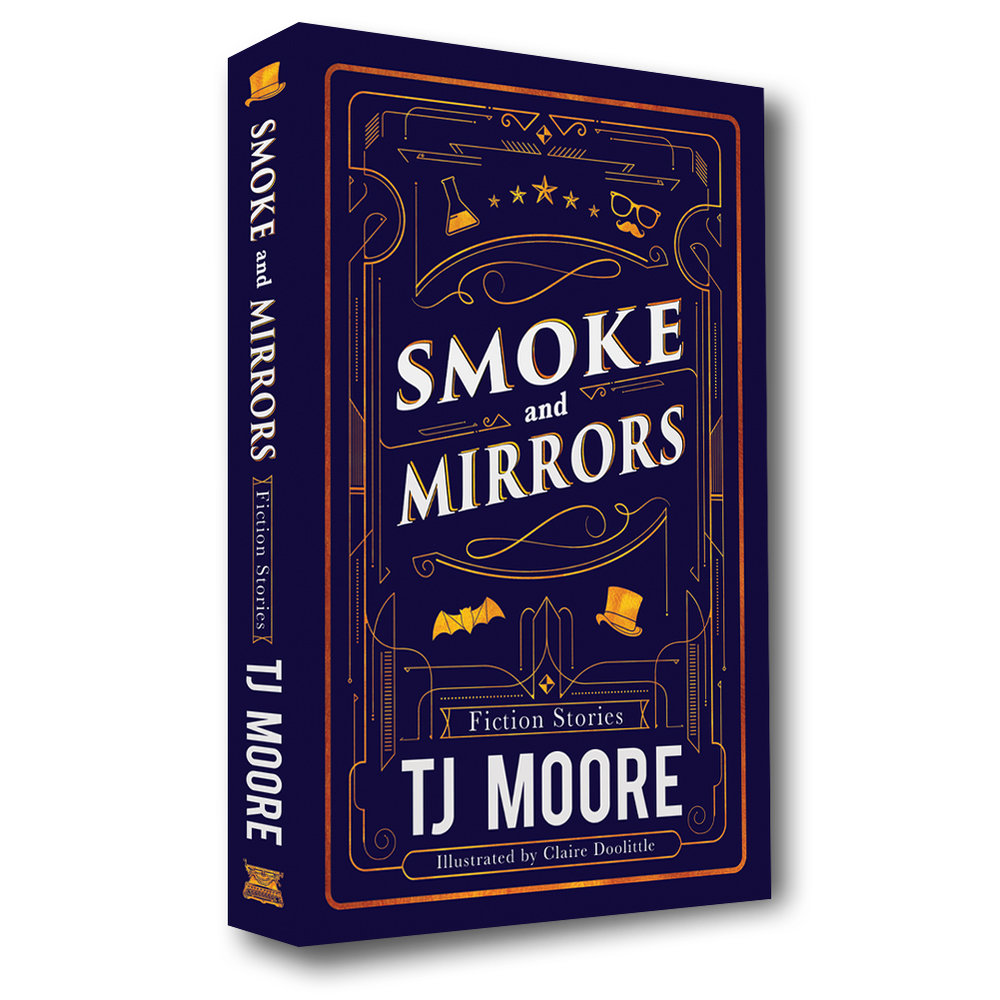 Smoke and Mirrors - Fiction Stories - Paperback BookNow available on Amazon.comThis collection of suspense features a diverse cast of characters facing their fears across America. A Mississippi carnival hypnotist makes moonshine, promising immortality. Mischievous pranksters rise to fame in Hollywood. Reality bends to its breaking point at a summer camp in Louisiana. Teenage friends investigate supernatural sightings near Malibu Pier. Vampires forge a family legacy, starting a peculiar business in Portland. A young mad scientist searches for an apprentice. New Jersey pet shop workers prepare for the arrival of a striped anaconda. Discover the secrets of these modern stories about what happens after dark.