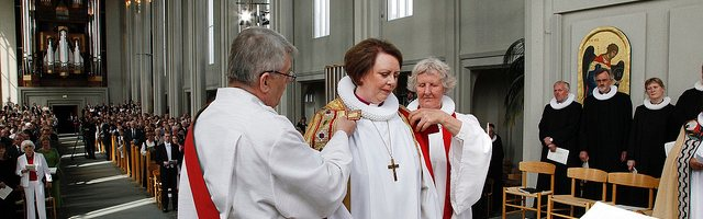 The ordination of Iceland's first national woman bishop, Agnes M. Sigurðardóttir.