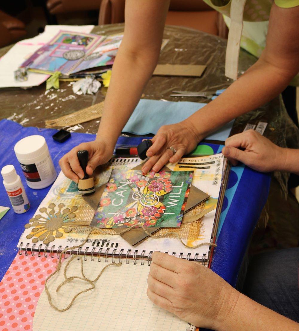 Art journaling with stencils