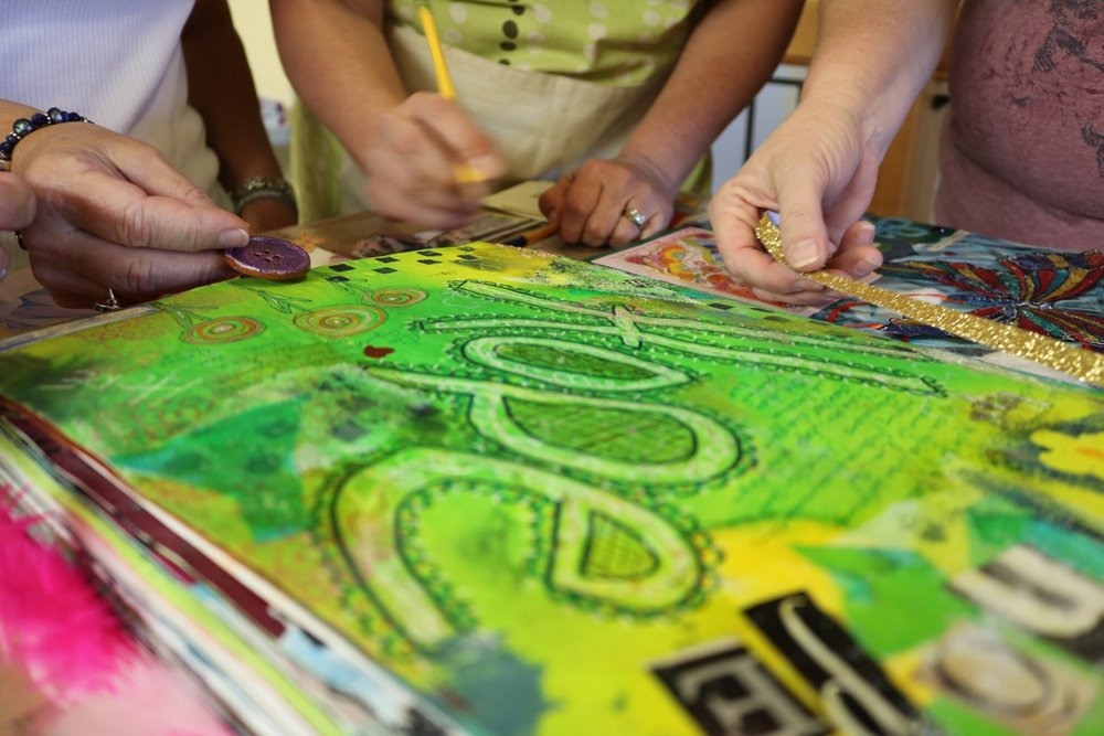 people creating art that says hope