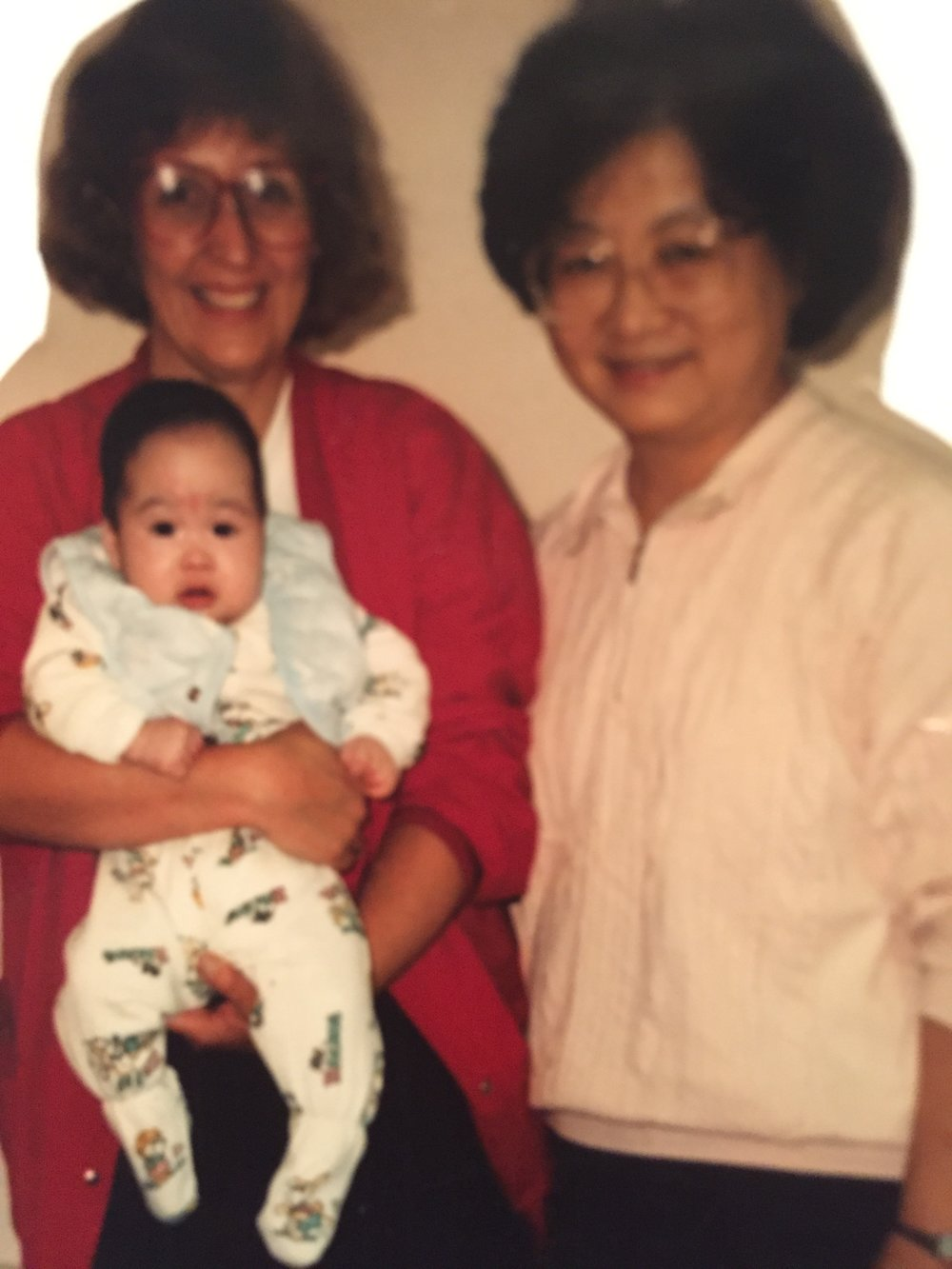Sister Rosa from the Orphanage with me holding Chi for the first time.
